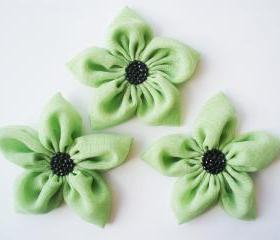 Sage Green Flowers Handmade Appliques Embellishments(3 pcs)