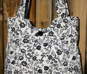 Black and White floral 3 piece purse set with matching wallet and makeup bag, clutch