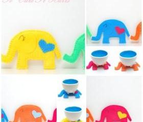 LOVE cozy elephant coasters - Set of Five 