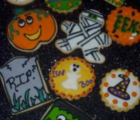 Halloween Vanilla Sugar Cookies Assorted Designs Order of 1 Dozen
