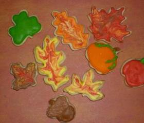 Thanksgiving Fall Harvest Leaf Mini Sugar Cookies Order of 2 dozen
