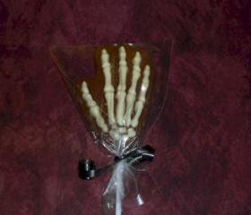 Solid Chocolate Halloween Candy Skeleton Hands Set of 6