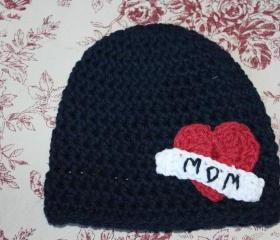 "'Mom"" tattoo baby beanie"