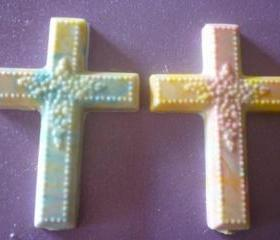 Solid Marbled Chocolate Easter or Religious Cross Set of 6