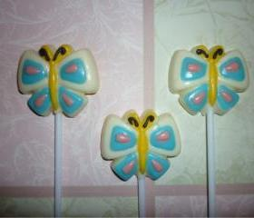 Chocolate Candy Butterfly Lollipop Cupcake Topper Party Favor Set of 6