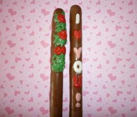 Chocolate Covered Romantic and Valentine Pretzels Set of 6