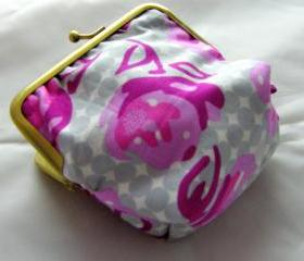 4' Silly Coin Purse - Pink Flowers on Grey Spots