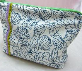 Make Up Bag - Green Velvet Ribbon