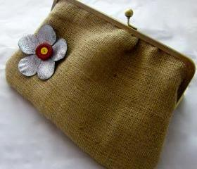 10&quot; Fancy Jute Clutch - Silver Flower with Buttons (Red & Yellow)