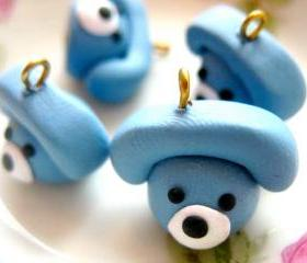 4pcs Telephone Charms - Blue