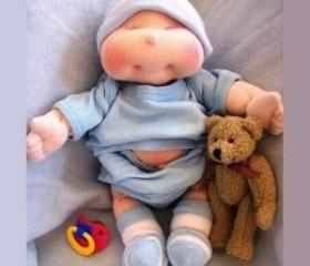 Dinky Baby, 14 inch Soft Cloth Doll Pattern, Free Shipping