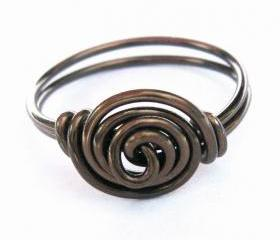 Antique Brass Rosette Ring Custom Size