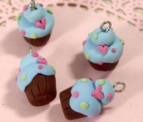 4 Mini Cupcakes Charms Code 2LHB-01 - Blue