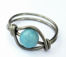 Turquoise Jasper Gemstone Ring in Gunmetal Custom Size