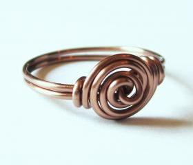 Antique Copper Rosette Ring Custom Size