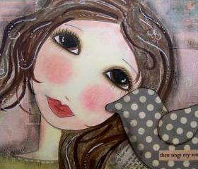 Then SINGS my SOUL 5x7 art CARD -cropped close up-