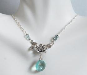 Sage Green Quartz and Mystic teal blue quartz flower pendant Necklace