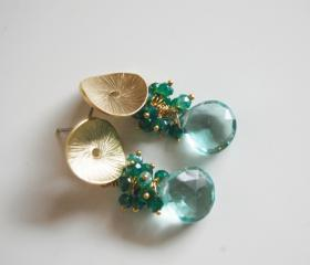 Sage Green Quartz and Mystic teal blue quartz dangle earrings