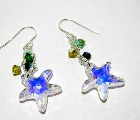 Dangling Swarovski Starfish (Crystal AB) w/4mm Yellow and Green Swarovski Crystals - Sterling SIlver