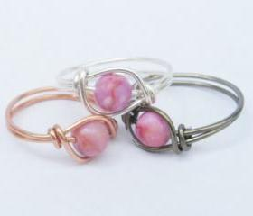 Pink Ring - Pink Matrix Jasper w/ Your Choice Of Wire Custom Size