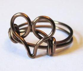 Antique Brass Heart Ring