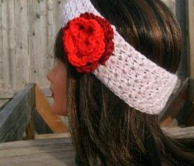 Crochet Headband, Pink, Flower, Hippie, Hair Band