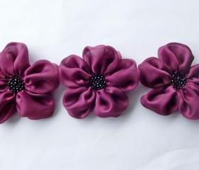 Cranberry Flowers Handmade Appliques Embellishments(3 pcs)