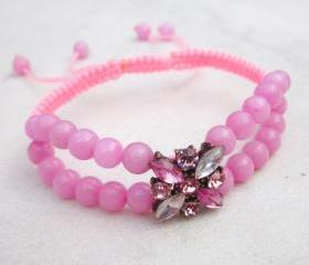 Pink Jade and Crystals Macrame friendship Bracelet