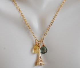 Green Mystic Quartz, Citrine and Eiffel tower Charm Necklace