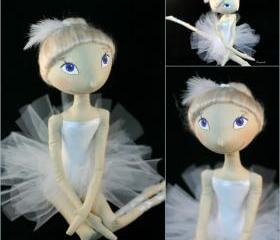 Cloth doll ballet dancer White Swan - Ready to ship