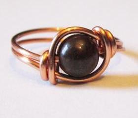 Red Poppy Jasper Ring in Copper Custom Size