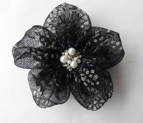 Black Tulle with White Textured Flowers Handmade Appliques Embellishments(3 pcs)