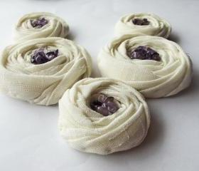 Cream Cotton Roses Handmade Appliques Embellishments(5 pcs)