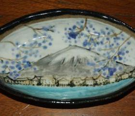 Mount Fuji Oval Ceramic Dish