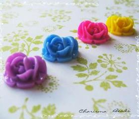 4 Mixed colors -you choose the color and how many- Resin Roses Cabochons Flower Accessory 18x17x8mm