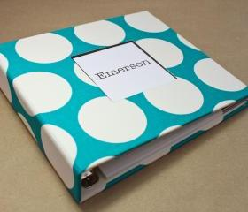 Baby Book - Teal and White Polka Dots (78 designed journaling pages & personalization included with every album)