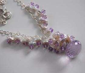 Pink Amethyst onion briolette,keishi pearl and zircon necklace.