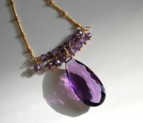 AAA elongated Amethyst ,natural purple zircon necklace