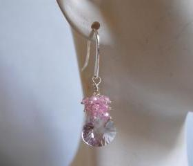 AAA Pink Amethyst and rose quartz earrings