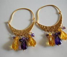 Matte gold plated half moon chandelier earrings