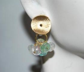Amazonite and texture disc earrings