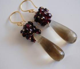 Smooth Smoky quartz long drop and garnet earrings