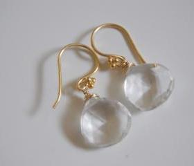 Crystal Quartz heart briolette earrings with gold filled