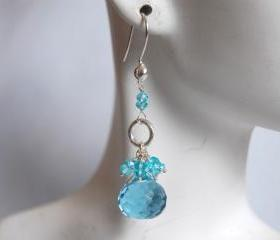 Aquamarine quartz and Apatite earrings