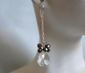 Rock Crystal Quartz and Pyrites earrings