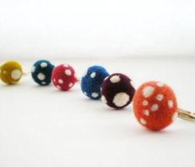 Polka Dot Rings - Felt Mushroom Ring, Any Colour