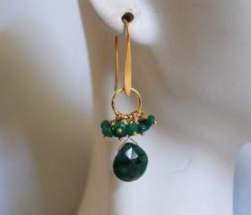 Emerald heart briolette and emerald rondelle earrings