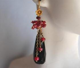 Long drop Black Onyx and Ruby earrings