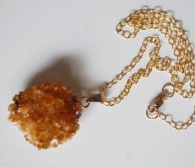 Citrine Druzy pendant Necklace
