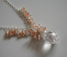 Crystal quartz and brown white shaded natural zircon necklace
